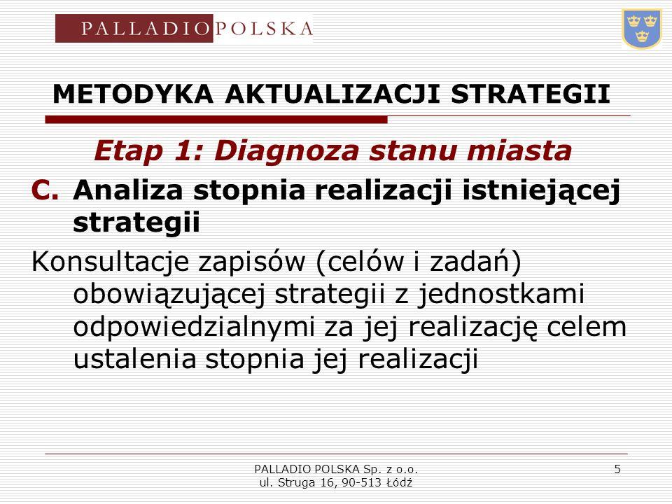 PALLADIO POLSKA Sp. z o.o. ul. Struga 16, 90-513 Łódź 5 METODYKA AKTUALIZACJI STRATEGII Etap 1: Diagnoza stanu miasta C.Analiza stopnia realizacji ist