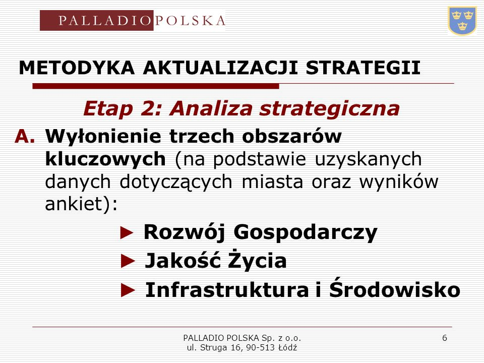 PALLADIO POLSKA Sp. z o.o. ul. Struga 16, 90-513 Łódź 6 METODYKA AKTUALIZACJI STRATEGII Etap 2: Analiza strategiczna A.Wyłonienie trzech obszarów kluc
