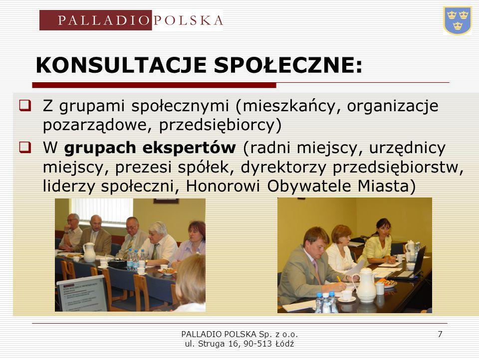 PALLADIO POLSKA Sp. z o.o. ul. Struga 16, 90-513 Łódź 7 KONSULTACJE SPOŁECZNE: Z grupami społecznymi (mieszkańcy, organizacje pozarządowe, przedsiębio