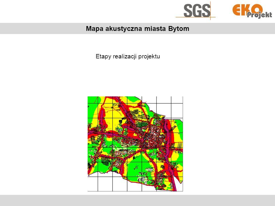 Mapa akustyczna miasta Bytom Pomiary akustyczne Na potrzeby realizacji projektu wykonano pomiary akustyczne dla źródeł hałasu: Drogowego Szynowego –Kolejowego –Tramwajowego Przemysłowego Pomiary kalibracyjne Pomiary dla w/w źródeł są niezbędne do poprawnego modelowania hałasu na potrzeby mapy akustycznej.