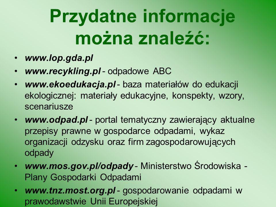 Segregacja odpadów - przykład ćwiczenia praktycznego SZKŁOPAPIERMETAL ODPADY ORGANICZNE PLASTIK SZKŁO KOLOROWE