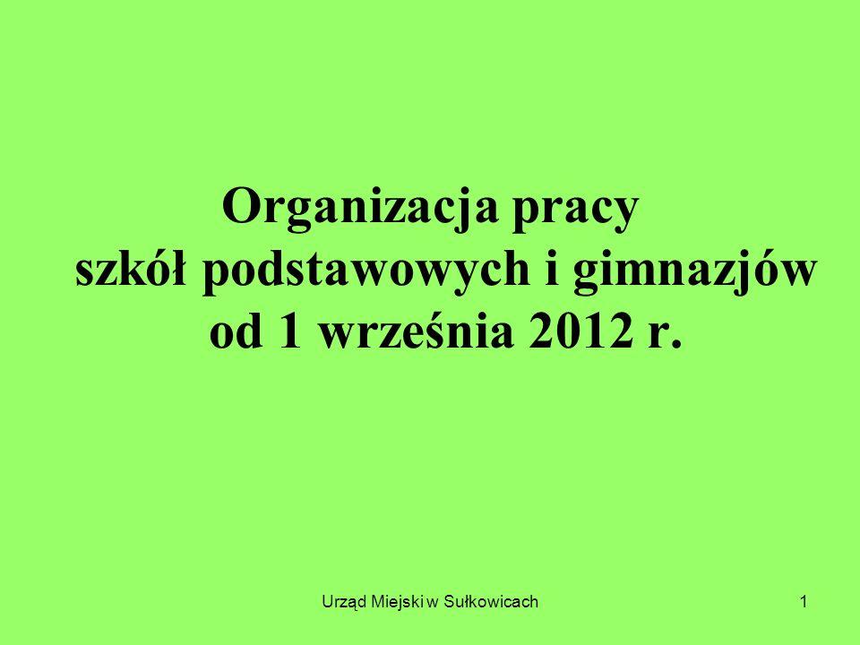 Urząd Miejski w Sułkowicach2 Podstawy prawne na rok szkolny 2012/2013 KlasyRozporządzenia w sprawie ramowych planów nauczania Klasy I i IV SP Klasa I G Rozporządzenie najnowsze z 7 lutego 2012 r.