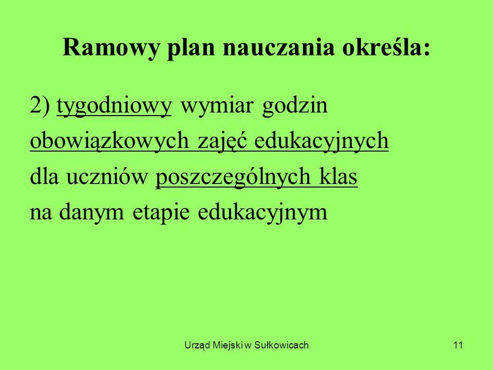 Urząd Miejski w Sułkowicach11 Ramowy plan nauczania określa: 2) tygodniowy wymiar godzin obowiązkowych zajęć edukacyjnych dla uczniów poszczególnych klas na danym etapie edukacyjnym