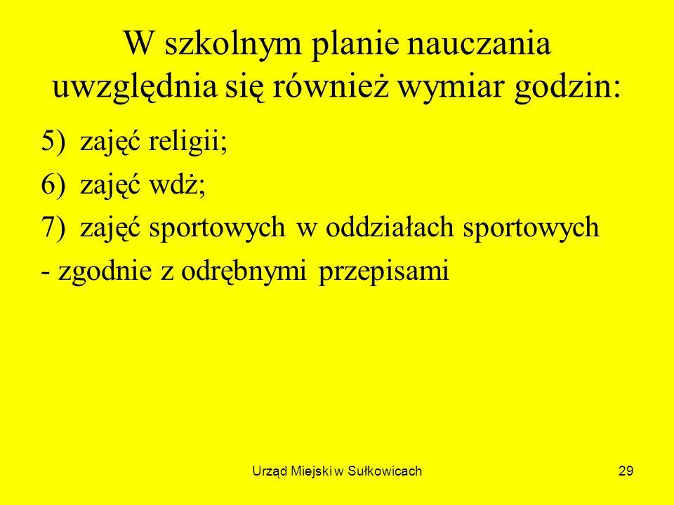 Urząd Miejski w Sułkowicach29 W szkolnym planie nauczania uwzględnia się również wymiar godzin: 5)zajęć religii; 6)zajęć wdż; 7)zajęć sportowych w oddziałach sportowych - zgodnie z odrębnymi przepisami