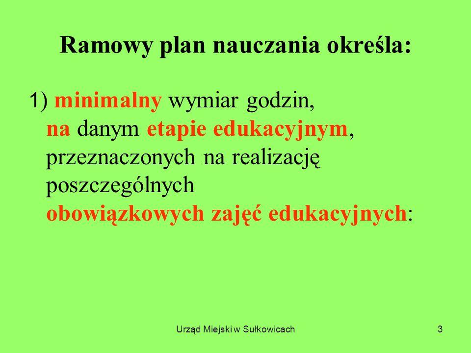 Urząd Miejski w Sułkowicach4 Obowiązkowe zajęcia edukacyjne: 1)Edukacja wczesnoszkolna (kl.
