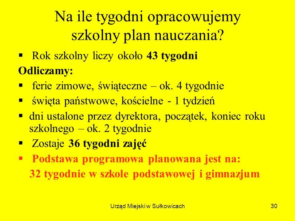 Urząd Miejski w Sułkowicach30 Na ile tygodni opracowujemy szkolny plan nauczania.