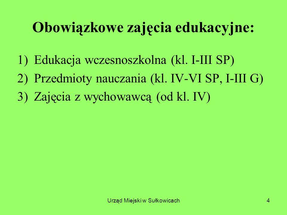 Urząd Miejski w Sułkowicach15 b)na obowiązkowych zajęciach edukacyjnych: - języków obcych – w oddziałach liczących więcej niż 24 uczniów (podział od 25); - zajęcia mogą być prowadzone w grupie oddziałowej, międzyoddziałowej lub międzyklasowej liczącej nie więcej niż 24 uczniów; - przy podziale na grupy należy uwzględnić stopień zaawansowania znajomości języka obcego;
