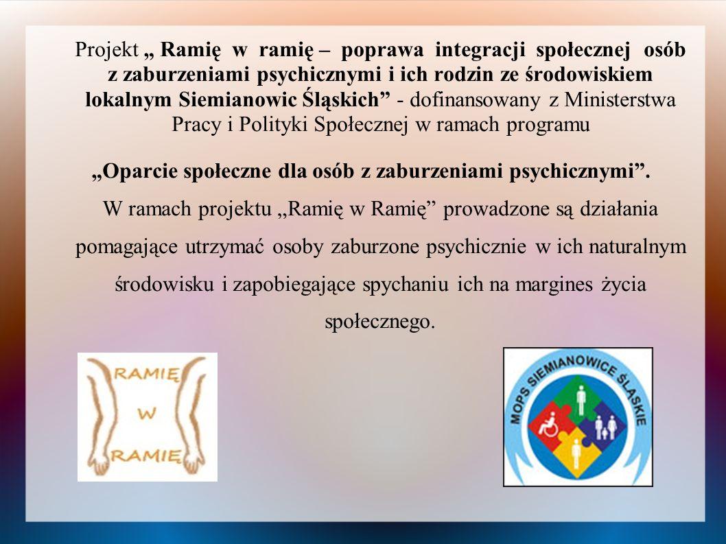 Projekt Ramię w ramię – poprawa integracji społecznej osób z zaburzeniami psychicznymi i ich rodzin ze środowiskiem lokalnym Siemianowic Śląskich - do