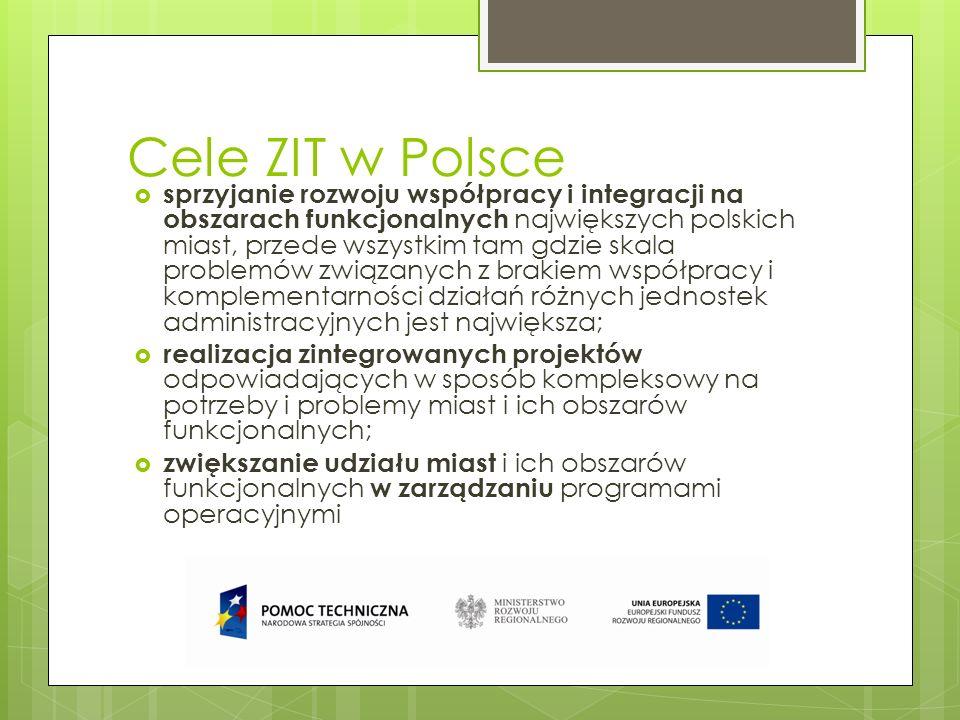 Cele ZIT w Polsce sprzyjanie rozwoju współpracy i integracji na obszarach funkcjonalnych największych polskich miast, przede wszystkim tam gdzie skala