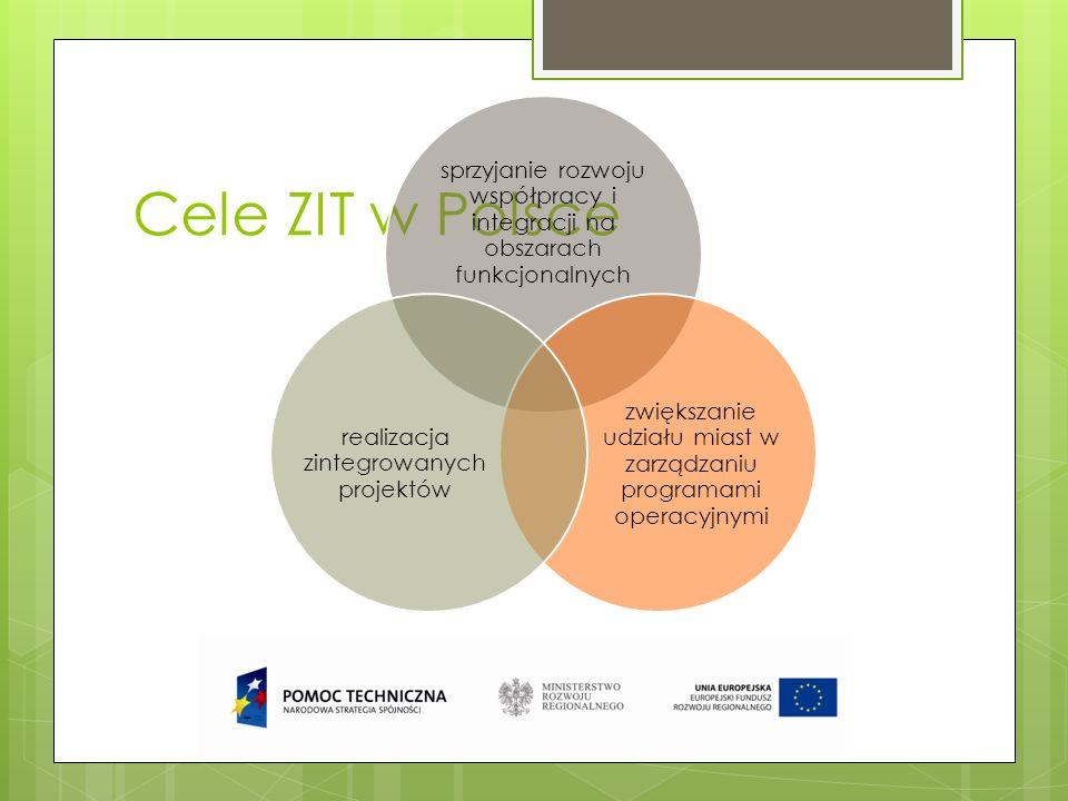 Cele ZIT w Polsce sprzyjanie rozwoju współpracy i integracji na obszarach funkcjonalnych zwiększanie udziału miast w zarządzaniu programami operacyjny