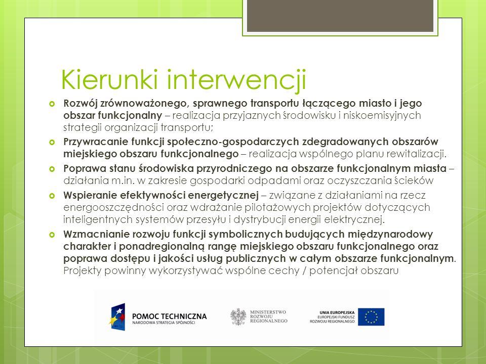 Kierunki interwencji Rozwój zrównoważonego, sprawnego transportu łączącego miasto i jego obszar funkcjonalny – realizacja przyjaznych środowisku i nis