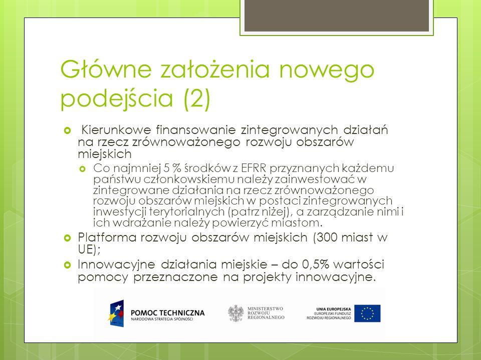 Główne założenia nowego podejścia (2) Kierunkowe finansowanie zintegrowanych działań na rzecz zrównoważonego rozwoju obszarów miejskich Co najmniej 5