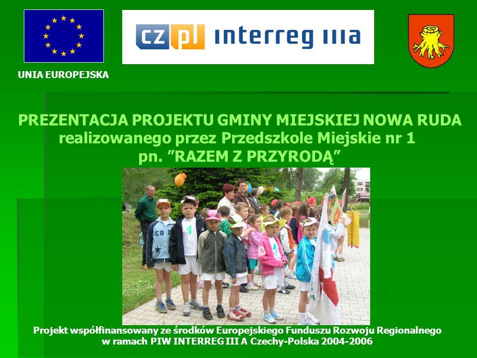UNIA EUROPEJSKA Projekt współfinansowany ze środków Europejskiego Funduszu Rozwoju Regionalnego w ramach PIW INTERREG III A Czechy-Polska 2004-2006 KRÓTKI OPIS PROJEKTU Celem projektu jest umacnianie polsko-czeskich kontaktów poprzez integrowanie się społeczności pogranicza.