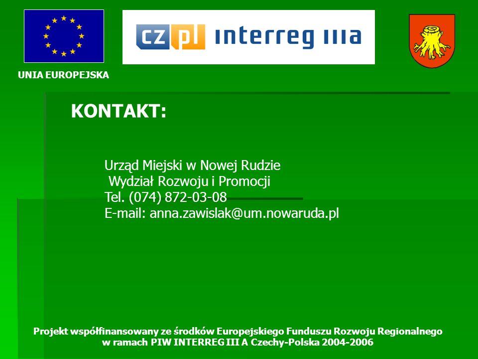 UNIA EUROPEJSKA Projekt współfinansowany ze środków Europejskiego Funduszu Rozwoju Regionalnego w ramach PIW INTERREG III A Czechy-Polska 2004-2006 KO