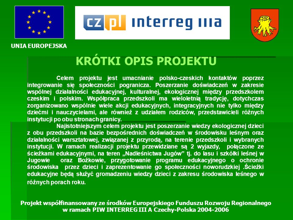 UNIA EUROPEJSKA Projekt współfinansowany ze środków Europejskiego Funduszu Rozwoju Regionalnego w ramach PIW INTERREG III A Czechy-Polska 2004-2006 KR