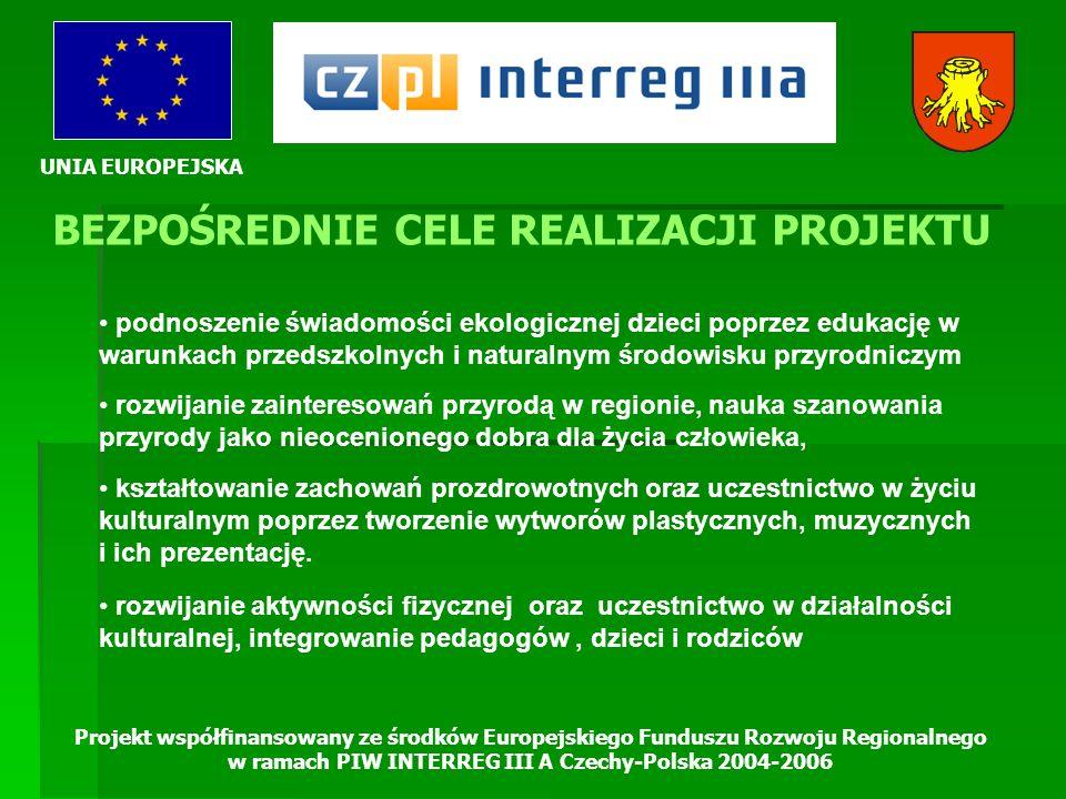 UNIA EUROPEJSKA Projekt współfinansowany ze środków Europejskiego Funduszu Rozwoju Regionalnego w ramach PIW INTERREG III A Czechy-Polska 2004-2006 GRUPY DOCELOWE PROJEKTU DZIECI, NAUCZYCIELE, RODZICE PO OBU STRONACH GRANICY MIESZKAŃCY PRZYGRANICZNEGO REGIONU PO POLSKIEJ I CZESKIEJ STRONIE INSTYTUCJE WŁĄCZONE DO WSPÓŁPRACY NA RZECZ OCHRONY ŚRODOWISKA I PROMOCJI PIĘKNA PRZYRODY