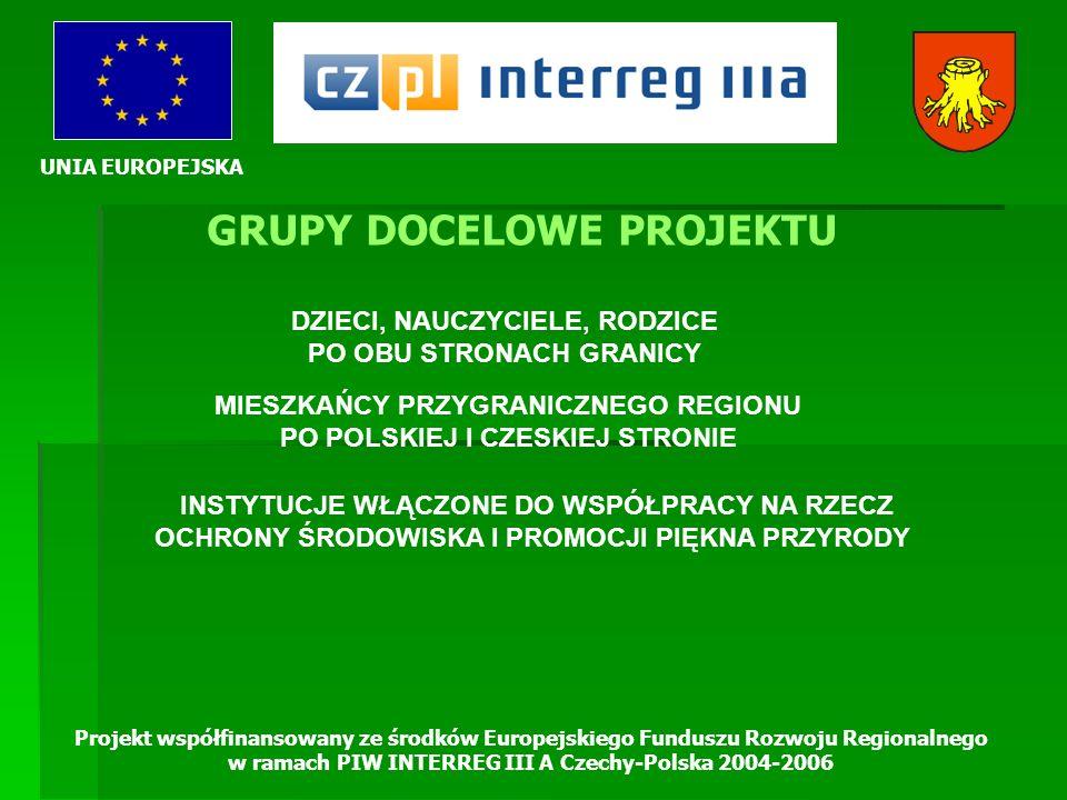 UNIA EUROPEJSKA Projekt współfinansowany ze środków Europejskiego Funduszu Rozwoju Regionalnego w ramach PIW INTERREG III A Czechy-Polska 2004-2006 GR