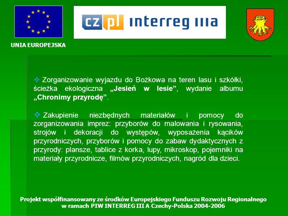 UNIA EUROPEJSKA Projekt współfinansowany ze środków Europejskiego Funduszu Rozwoju Regionalnego w ramach PIW INTERREG III A Czechy-Polska 2004-2006 Zo