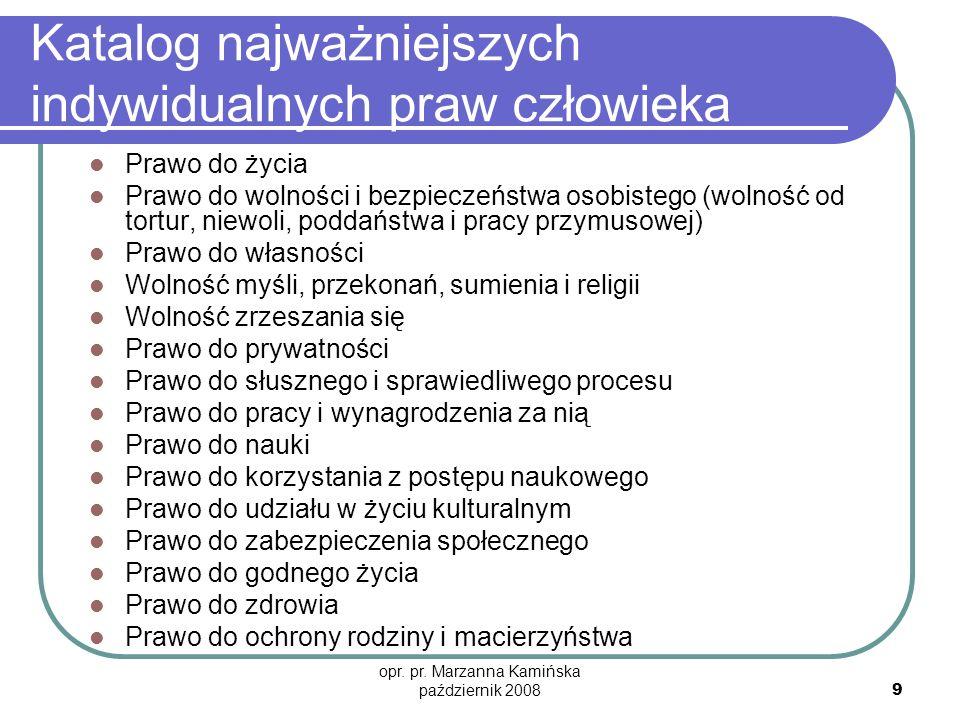 opr. pr. Marzanna Kamińska październik 2008 9 Katalog najważniejszych indywidualnych praw człowieka Prawo do życia Prawo do wolności i bezpieczeństwa