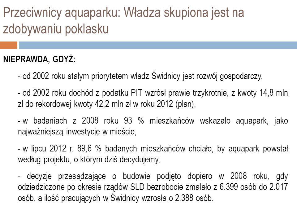 Przeciwnicy aquaparku: Władza skupiona jest na zdobywaniu poklasku NIEPRAWDA, GDYŻ: - od 2002 roku stałym priorytetem władz Świdnicy jest rozwój gospodarczy, - od 2002 roku dochód z podatku PIT wzrósł prawie trzykrotnie, z kwoty 14,8 mln zł do rekordowej kwoty 42,2 mln zł w roku 2012 (plan), - w badaniach z 2008 roku 93 % mieszkańców wskazało aquapark, jako najważniejszą inwestycję w mieście, - w lipcu 2012 r.