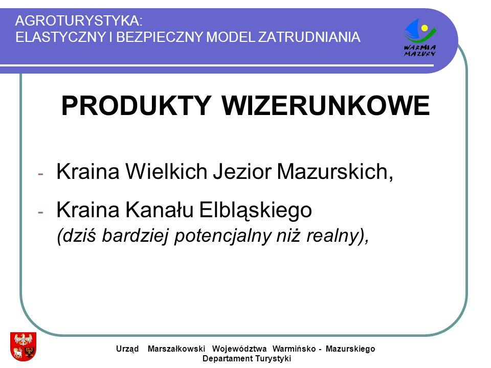 AGROTURYSTYKA: ELASTYCZNY I BEZPIECZNY MODEL ZATRUDNIANIA PRODUKTY WIZERUNKOWE - Kraina Wielkich Jezior Mazurskich, - Kraina Kanału Elbląskiego (dziś