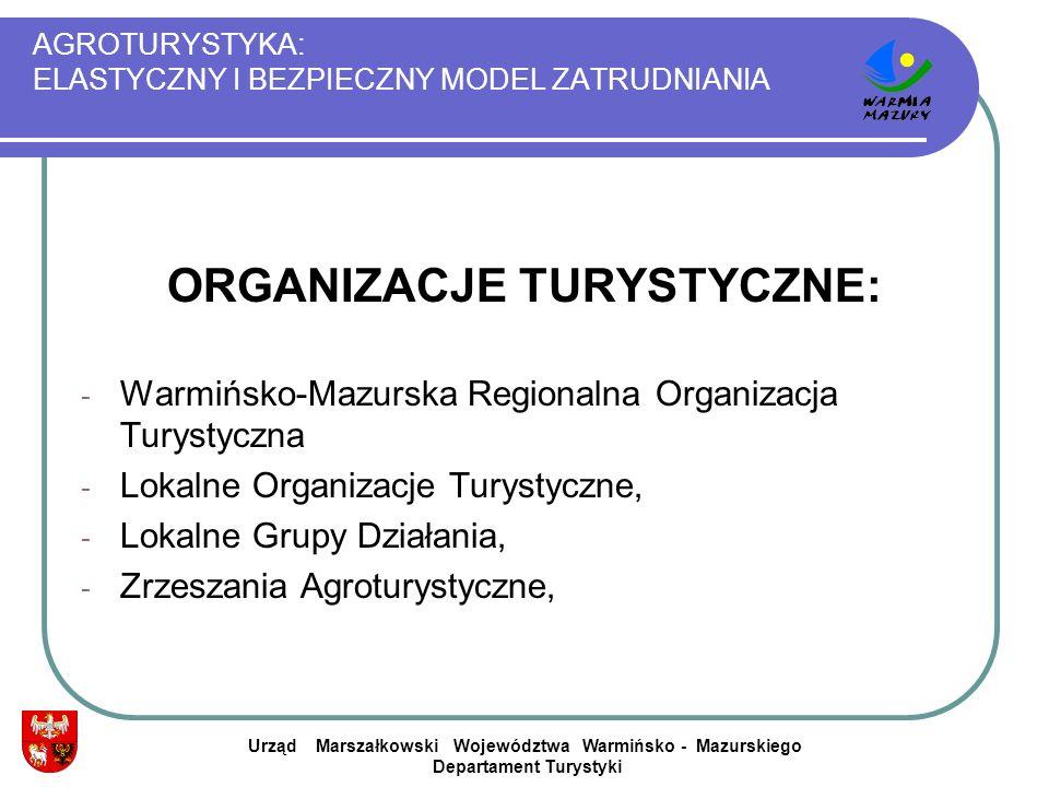 AGROTURYSTYKA: ELASTYCZNY I BEZPIECZNY MODEL ZATRUDNIANIA ORGANIZACJE TURYSTYCZNE: - Warmińsko-Mazurska Regionalna Organizacja Turystyczna - Lokalne O