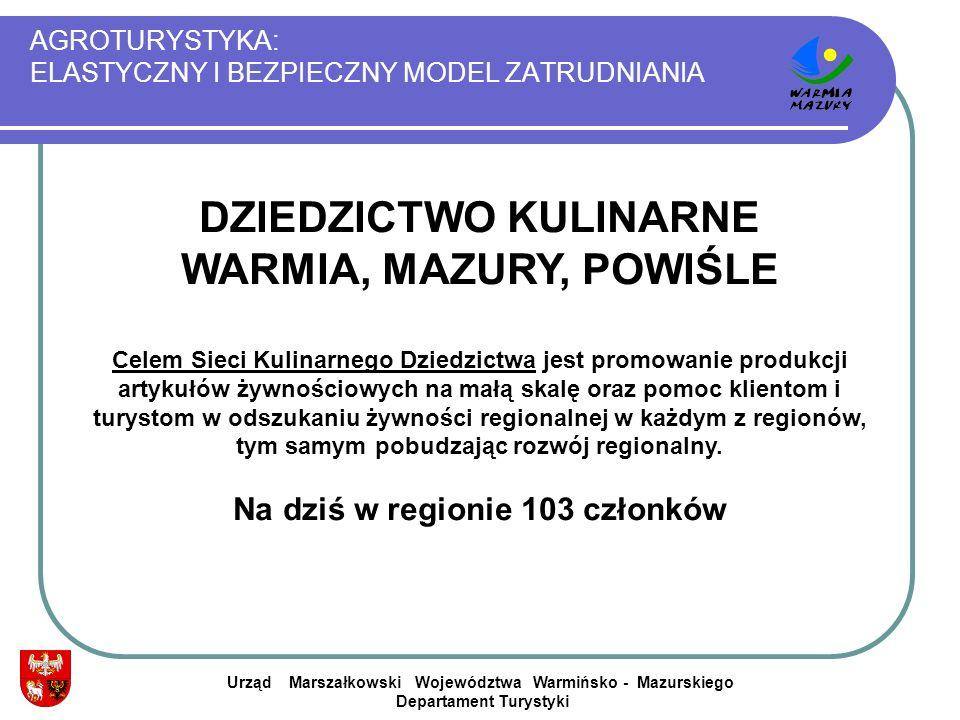 AGROTURYSTYKA: ELASTYCZNY I BEZPIECZNY MODEL ZATRUDNIANIA Urząd Marszałkowski Województwa Warmińsko - Mazurskiego Departament Turystyki DZIEDZICTWO KU