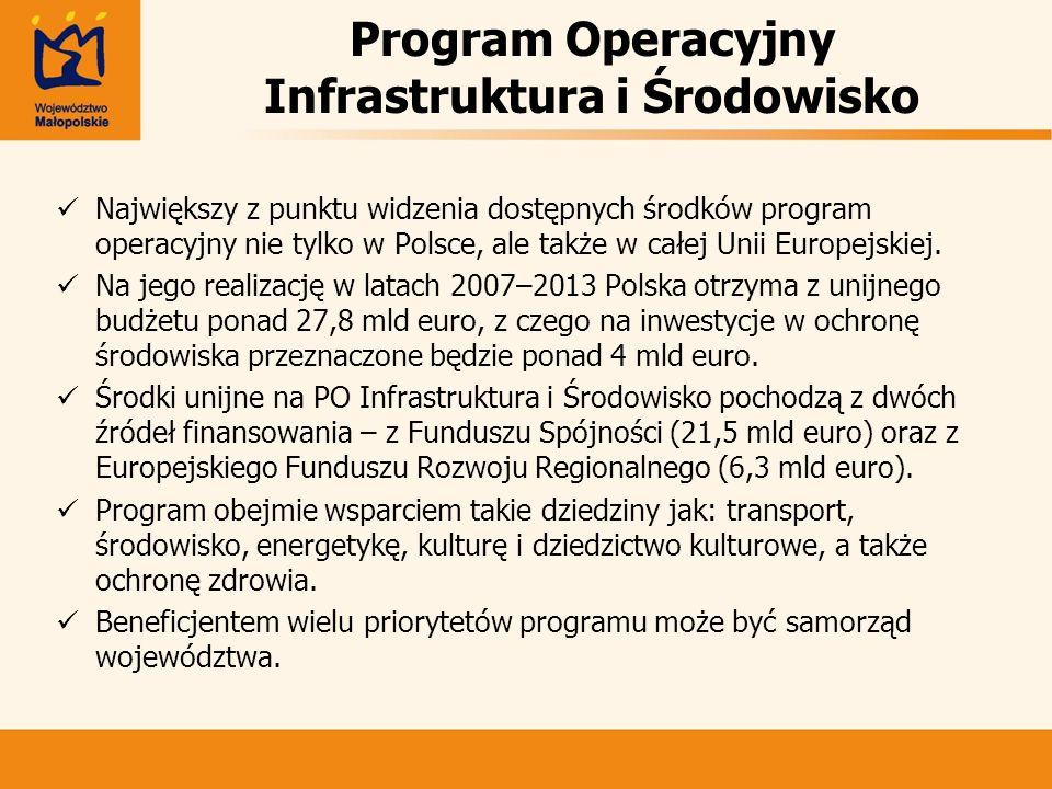 Program Operacyjny Infrastruktura i Środowisko Największy z punktu widzenia dostępnych środków program operacyjny nie tylko w Polsce, ale także w całe