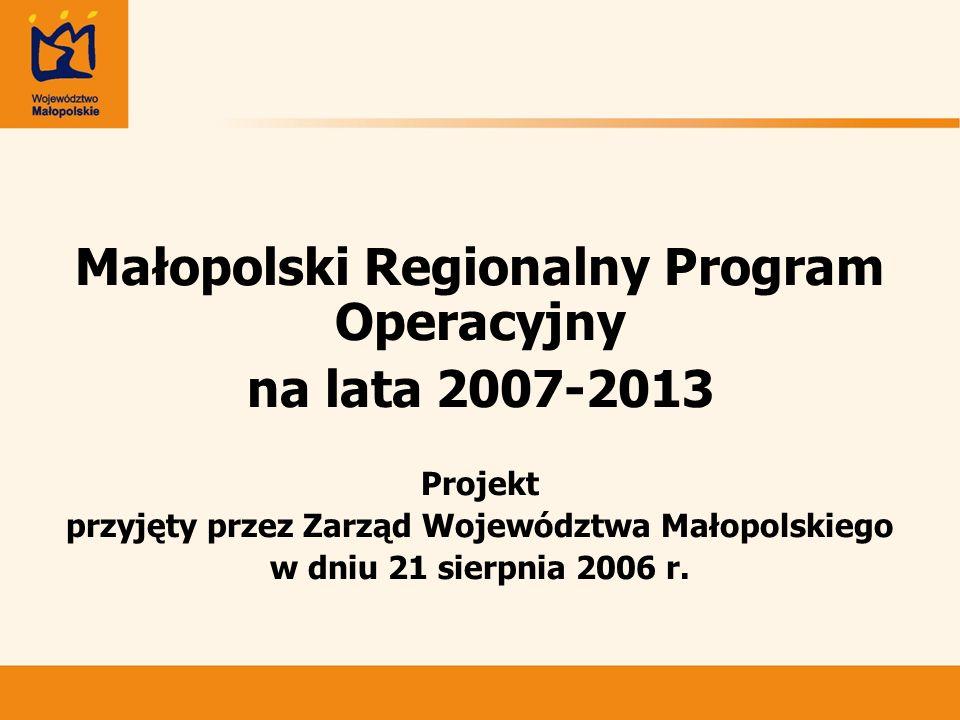 Małopolski Regionalny Program Operacyjny na lata 2007-2013 Projekt przyjęty przez Zarząd Województwa Małopolskiego w dniu 21 sierpnia 2006 r.