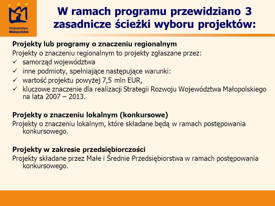W ramach programu przewidziano 3 zasadnicze ścieżki wyboru projektów: Projekty lub programy o znaczeniu regionalnym Projekty o znaczeniu regionalnym t