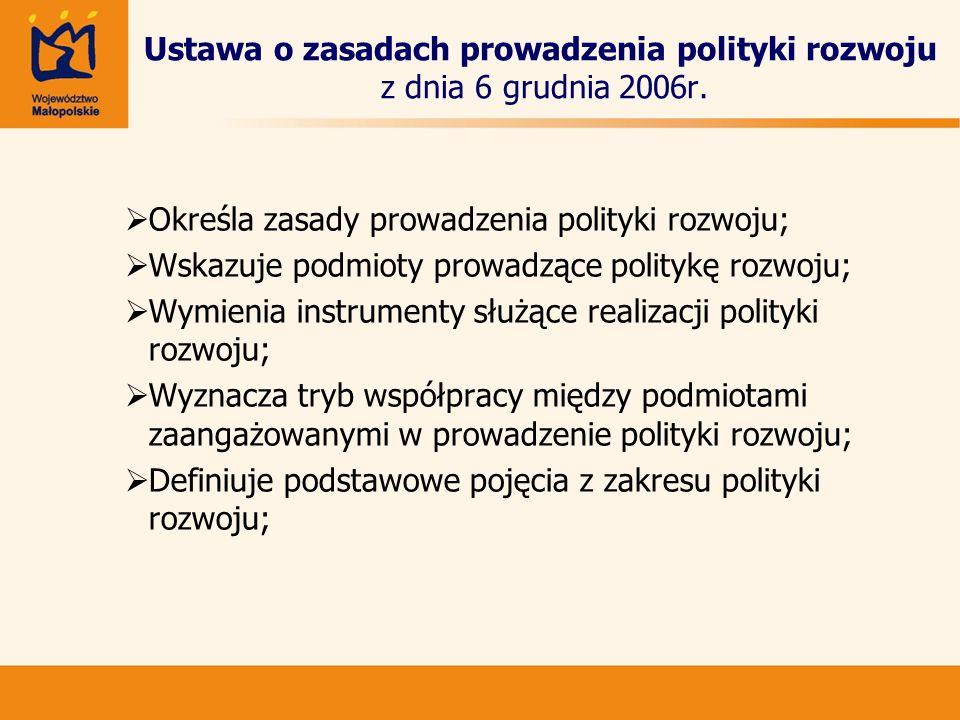 Ustawa o zasadach prowadzenia polityki rozwoju z dnia 6 grudnia 2006r. Określa zasady prowadzenia polityki rozwoju; Wskazuje podmioty prowadzące polit