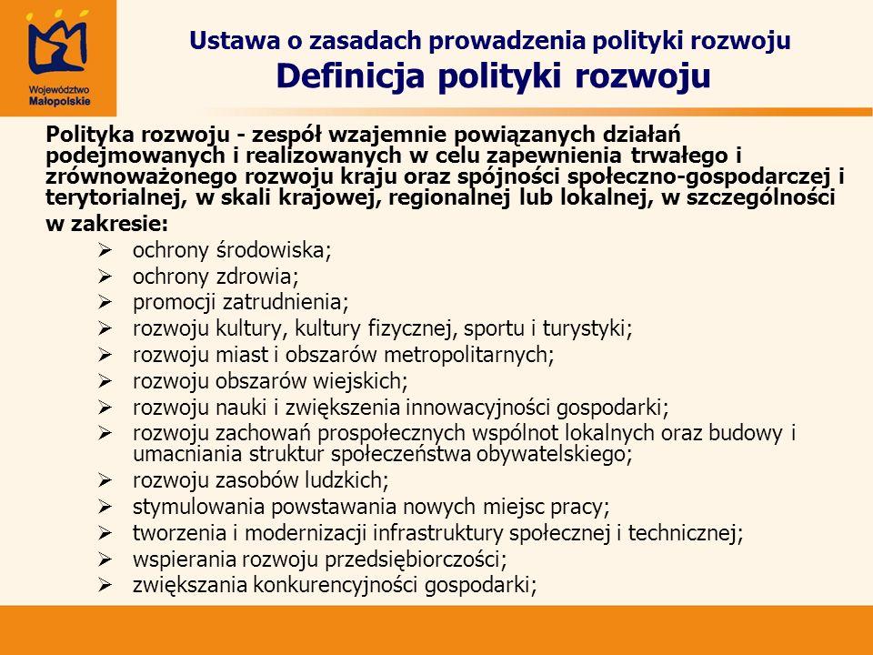 Ustawa o zasadach prowadzenia polityki rozwoju Definicja polityki rozwoju Polityka rozwoju - zespół wzajemnie powiązanych działań podejmowanych i real