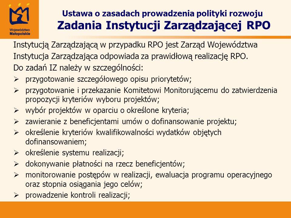Ustawa o zasadach prowadzenia polityki rozwoju Zadania Instytucji Zarządzającej RPO Instytucją Zarządzającą w przypadku RPO jest Zarząd Województwa In