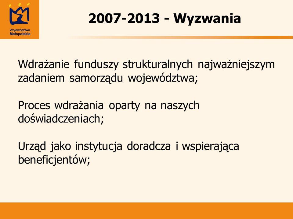 2007-2013 - Wyzwania Wdrażanie funduszy strukturalnych najważniejszym zadaniem samorządu województwa; Proces wdrażania oparty na naszych doświadczenia