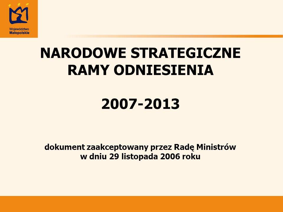 NARODOWE STRATEGICZNE RAMY ODNIESIENIA 2007-2013 dokument zaakceptowany przez Radę Ministrów w dniu 29 listopada 2006 roku