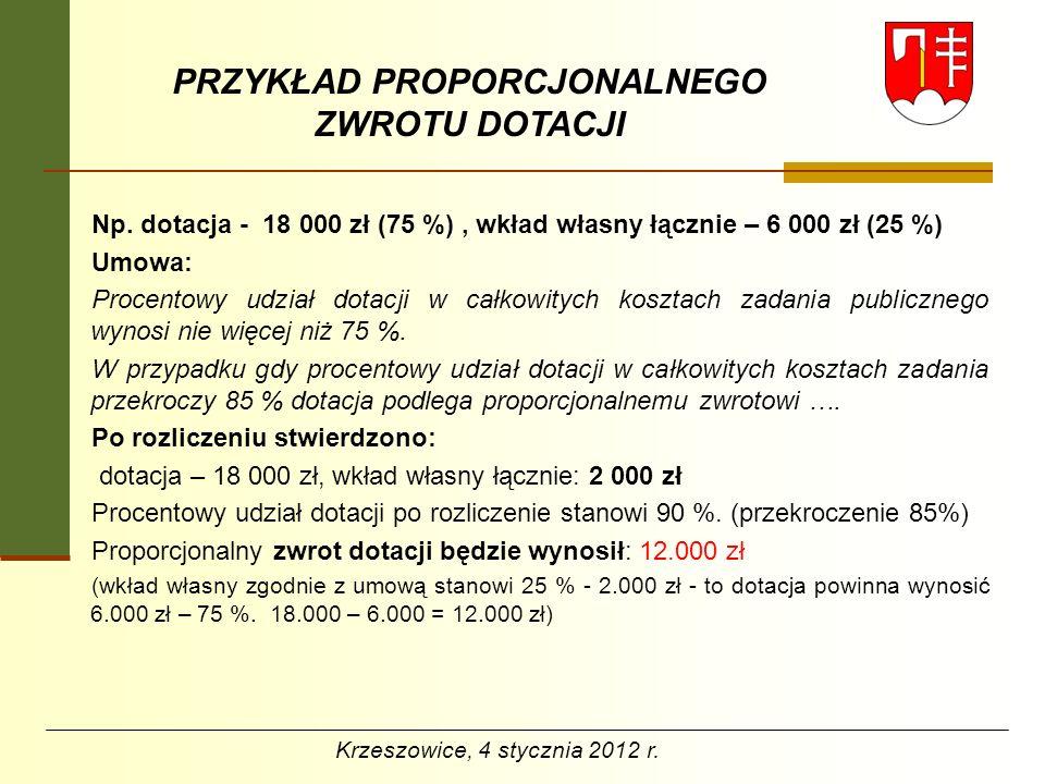 PRZYKŁAD PROPORCJONALNEGO ZWROTU DOTACJI Np. dotacja - 18 000 zł (75 %), wkład własny łącznie – 6 000 zł (25 %) Umowa: Procentowy udział dotacji w cał