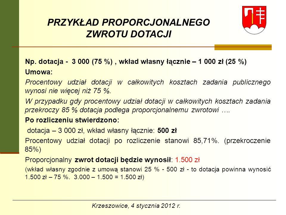 PRZYKŁAD PROPORCJONALNEGO ZWROTU DOTACJI Np. dotacja - 3 000 (75 %), wkład własny łącznie – 1 000 zł (25 %) Umowa: Procentowy udział dotacji w całkowi