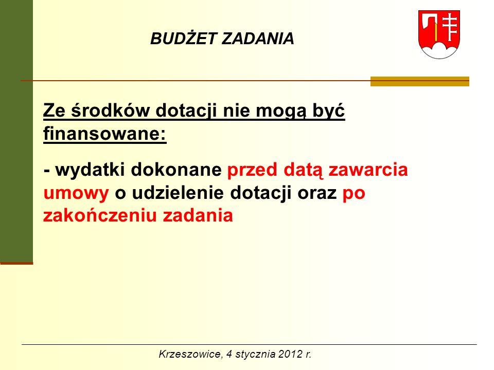 BUDŻET ZADANIA Ze środków dotacji nie mogą być finansowane: - wydatki dokonane przed datą zawarcia umowy o udzielenie dotacji oraz po zakończeniu zada