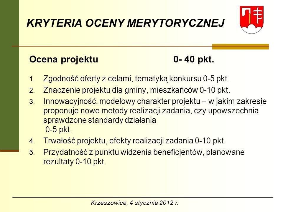 KRYTERIA OCENY MERYTORYCZNEJ Możliwość realizacji zadania przez wnioskodawcę 0-35 pkt.