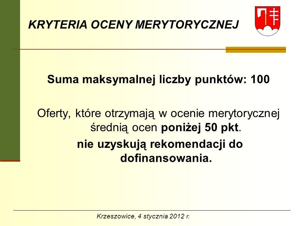 OTWARTE KONKURSY OFERT 2012 Dziękuję za uwagę Agata Grela Wydział Organizacyjny a.grela@um.krzeszowice.pl www.krzeszowice.pl Krzeszowice, 4 stycznia 2012 r.