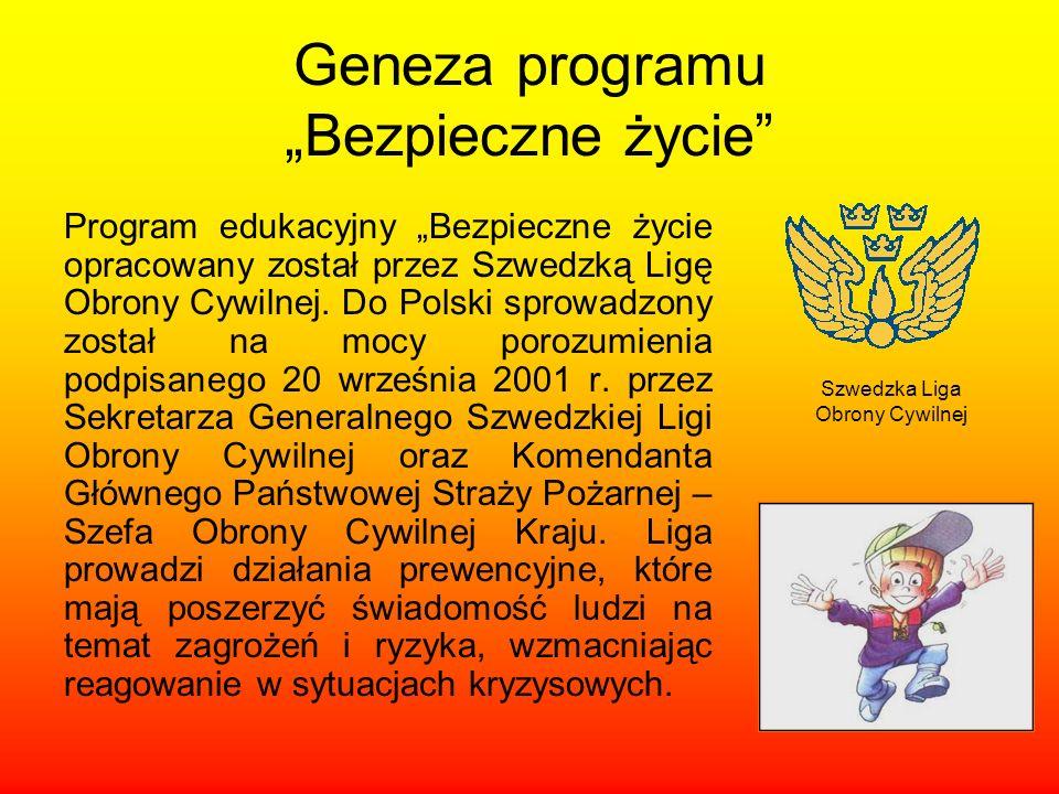 Geneza programu Bezpieczne życie Program edukacyjny Bezpieczne życie opracowany został przez Szwedzką Ligę Obrony Cywilnej. Do Polski sprowadzony zost