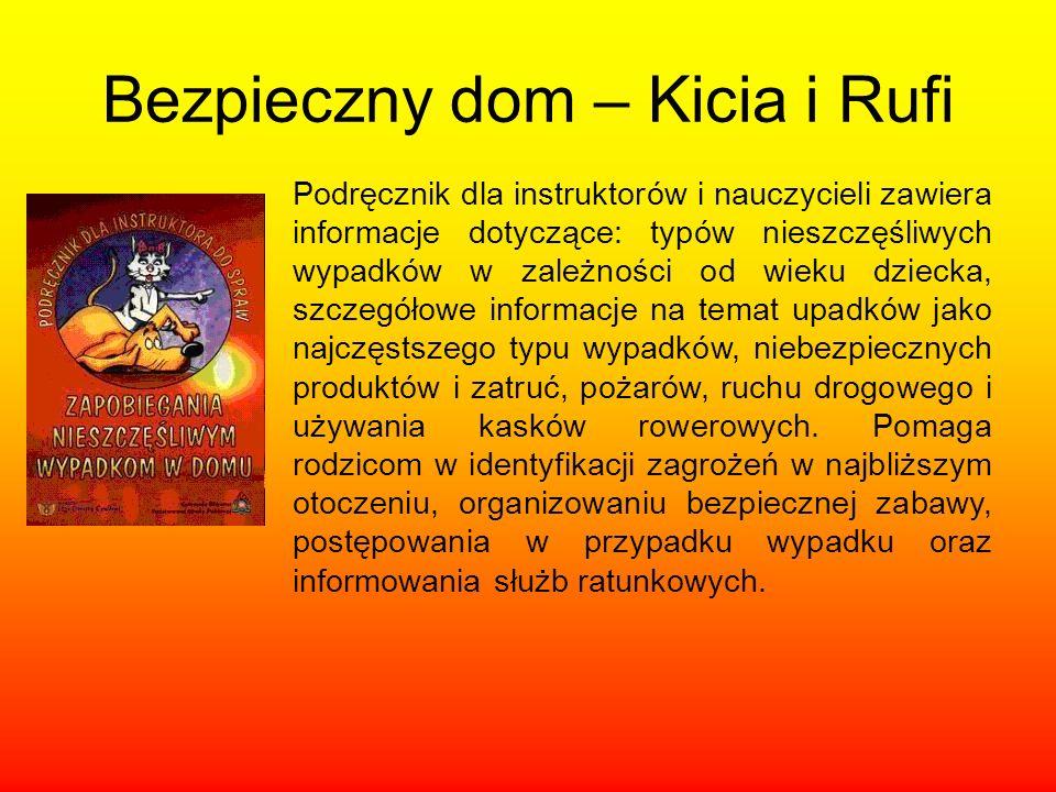 Bezpieczny dom – Kicia i Rufi Podręcznik dla instruktorów i nauczycieli zawiera informacje dotyczące: typów nieszczęśliwych wypadków w zależności od w