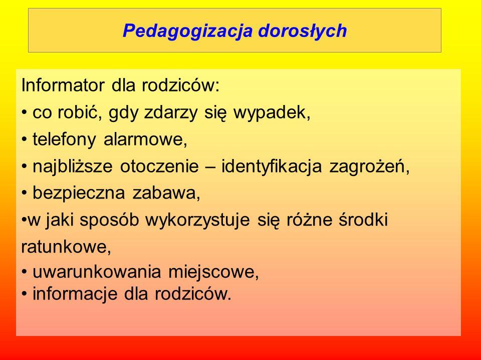 Pedagogizacja dorosłych Informator dla rodziców: co robić, gdy zdarzy się wypadek, telefony alarmowe, najbliższe otoczenie – identyfikacja zagrożeń, b
