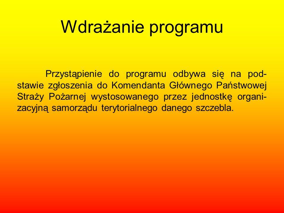 Wdrażanie programu Przystąpienie do programu odbywa się na pod- stawie zgłoszenia do Komendanta Głównego Państwowej Straży Pożarnej wystosowanego prze
