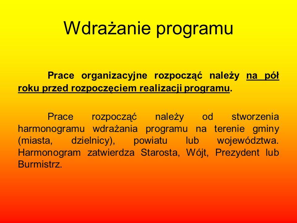 Wdrażanie programu Prace organizacyjne rozpocząć należy na pół roku przed rozpoczęciem realizacji programu. Prace rozpocząć należy od stworzenia harmo
