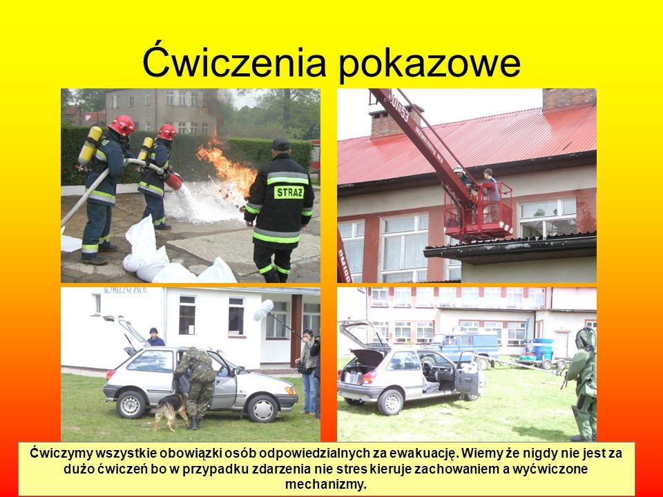 Ćwiczenia pokazowe Ćwiczymy wszystkie obowiązki osób odpowiedzialnych za ewakuację. Wiemy że nigdy nie jest za dużo ćwiczeń bo w przypadku zdarzenia n