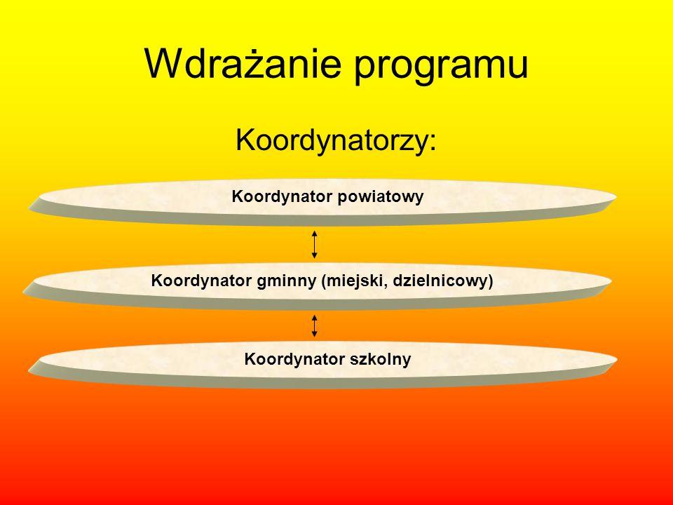 Wdrażanie programu Koordynatorzy: Koordynator powiatowy Koordynator gminny (miejski, dzielnicowy) Koordynator szkolny