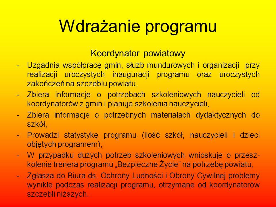 Wdrażanie programu Koordynator powiatowy -Uzgadnia współpracę gmin, służb mundurowych i organizacji przy realizacji uroczystych inauguracji programu o