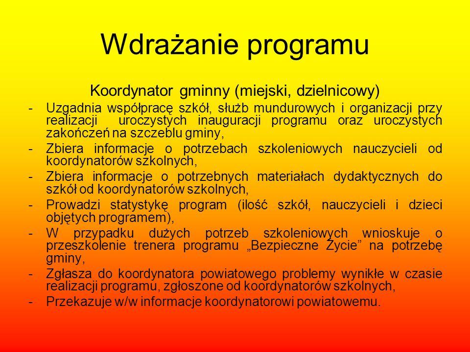 Wdrażanie programu Koordynator gminny (miejski, dzielnicowy) -Uzgadnia współpracę szkół, służb mundurowych i organizacji przy realizacji uroczystych i
