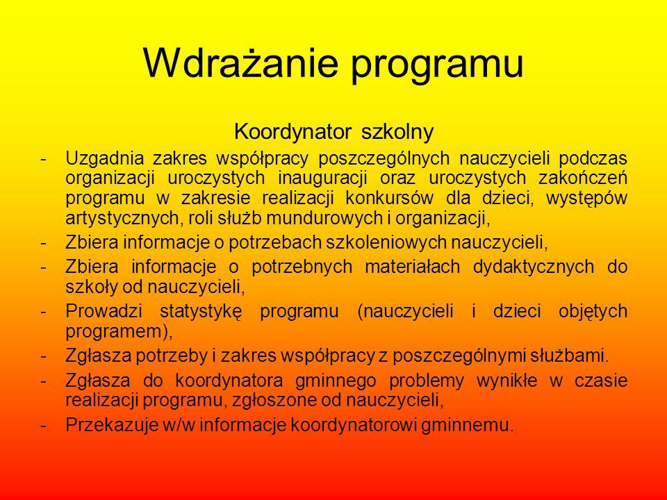 Wdrażanie programu Koordynator szkolny -Uzgadnia zakres współpracy poszczególnych nauczycieli podczas organizacji uroczystych inauguracji oraz uroczys
